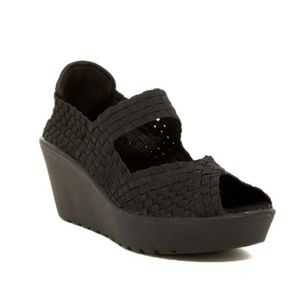 Steven by Steve Madden Black Brynn Wedges Sz 7.5